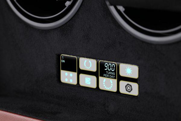 Close-up voorkant bediening Benson Compact 2.18 Dark Brown Leather
